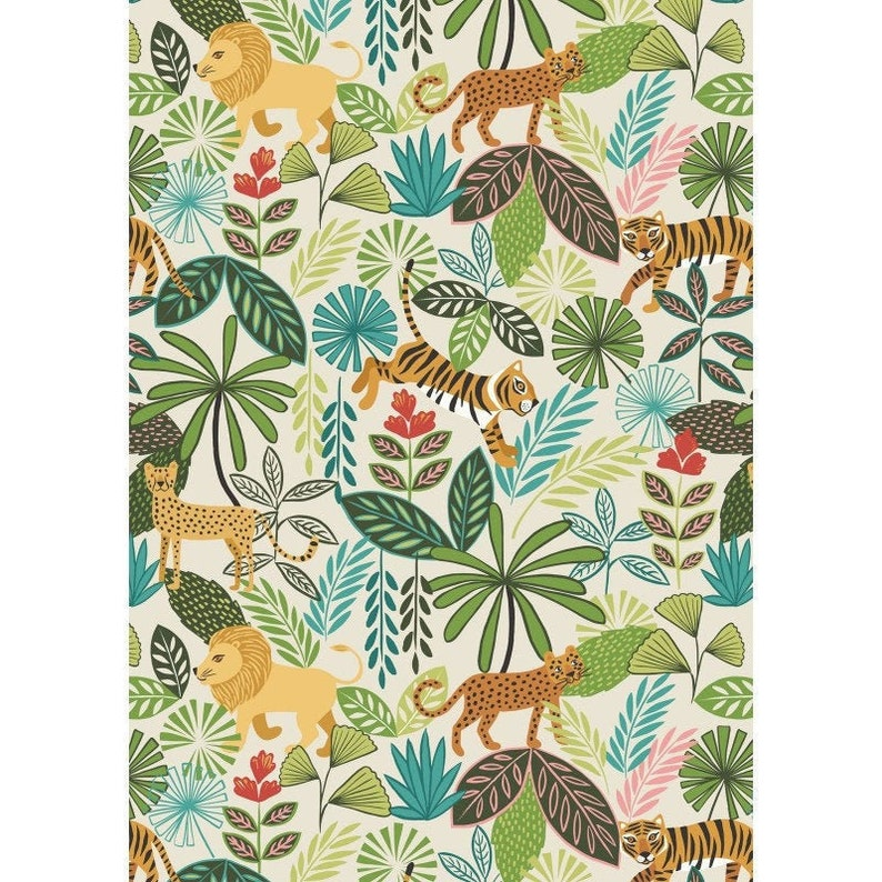 Panthera Cream A331-1 Lewis and Irene PANTHERA Jungle Quilt image 0