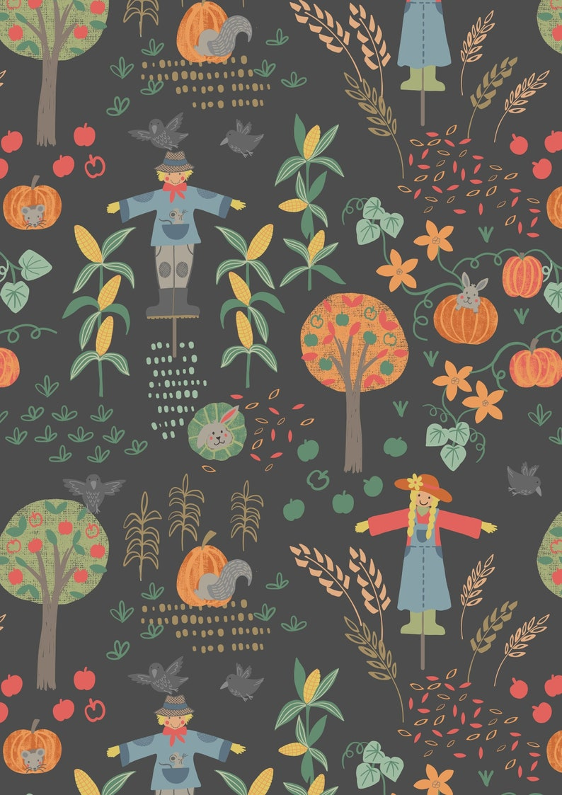 SCARECROW ACRES on Black A296 3 Lewis and Irene Fabric image 0