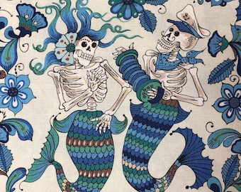 Esqueletos Del Mar in Light Blue Alexander Henry Fabric, Cotton Quilt Fabric, Nautical Fabric, Mermaids, Goth Fabric, Fabric By The Yard