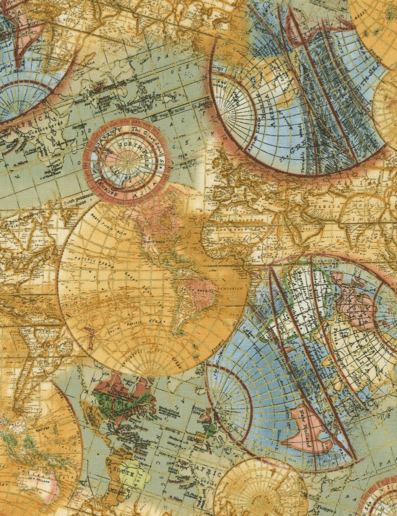 Library CM6894 Globe Map Fabric World Map Timeless image 0