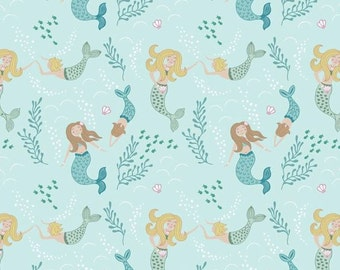 Lewis & Irene Fabric, Mermaids on Light Blue  A138-1 Tales of the Sea, Quilt Fabric, Cotton Fabric, Quilting Fabric, Fabric By The Yard