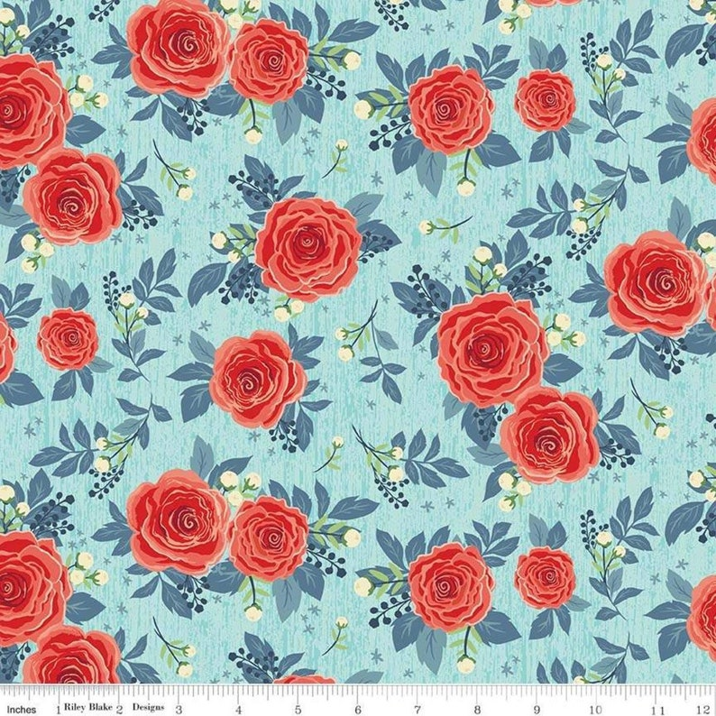 Baby Girl Quilt Penny Rose Fabrics Kelly Panacci Shabby Chic Quilting Riley Blake Fabric By the Yard Rose Hedge Main Aqua C7900