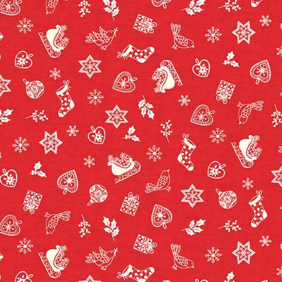 Christmas Fabric 2019.Scandi 2019 Makower Uk Scatter Red Swedish Christmas Christmas Fabric Quilt Fabric Quilting Farmhouse Christmas Fabric By The Yard