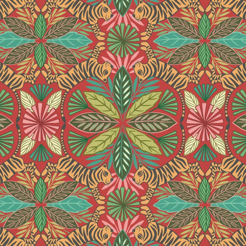 Tiger on Red A329-2 Lewis and Irene PANTHERA Floral Fabric image 0