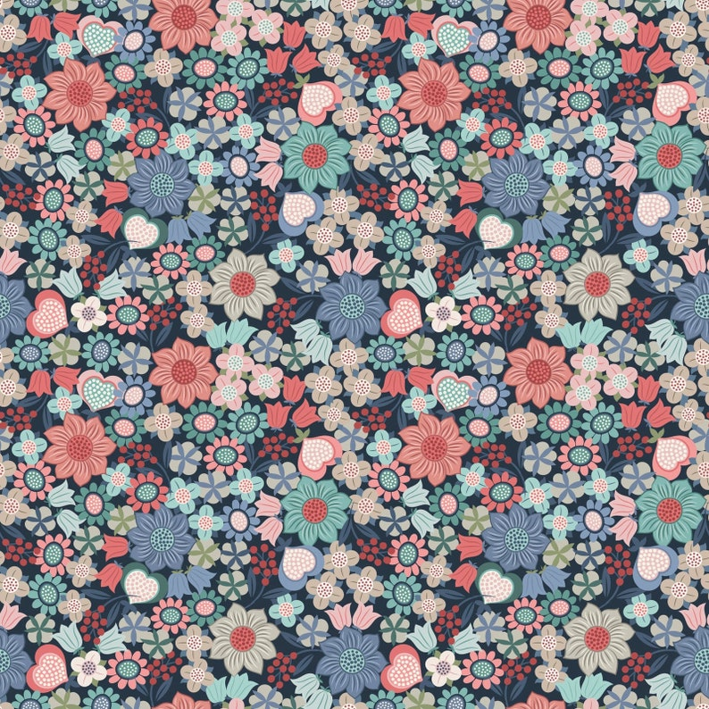 Multi Floral on Dark Blue 401-3 Lewis and Irene MICHAELMAS image 0