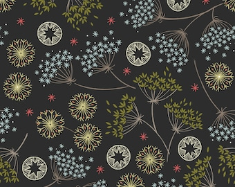Winter Floral Black C61-3, NEW FOREST WINTER, Lewis and Irene, Quilt Fabric, Christmas Fabric, Winter, Cotton Fabric, Fabric By The Yard