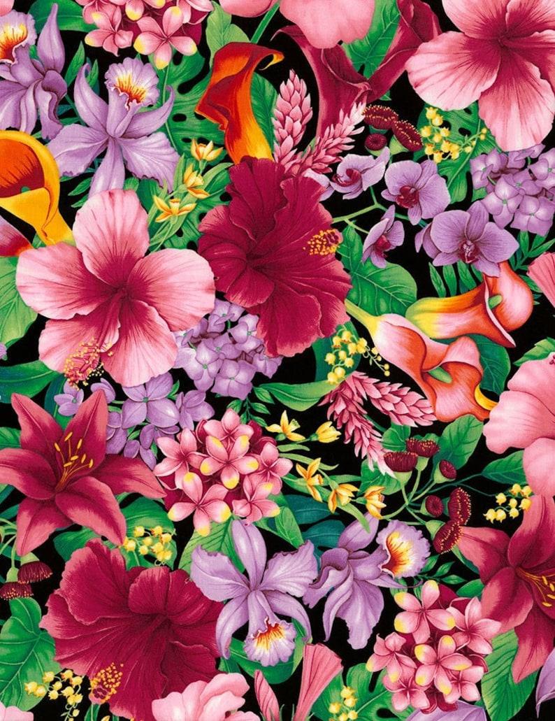 TROPICAL FLORAL C5436 Hawaiian Fabric Large Print Fabric image 0
