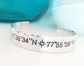 Coordinates Bracelet, Travel Gifts, Coordinates Jewelry, Latitude Bracelet, Longitude Bracelet, Secret Message Bracelet, Compass Bracel