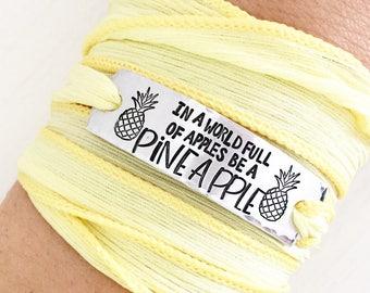 In a world of apples be a pineapple, Pineapple Jewelry, Pineapple Bracelet,  Summer Bracelet, Wrap Bracelet