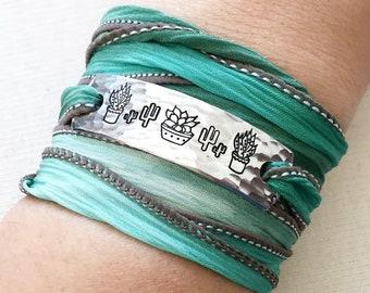 Plant Lover Jewelry, Wrap Bracelet, Plant Gift, Boho Jewelry, Boho Bracelet, Succulent Jewelry, Cactus Jewelry