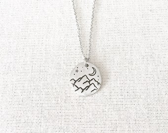 Night Mountain Necklace, Mountain Jewelry, Outdoor Gift, Nature Jewelry, Moon Jewelry, Hiker Gift, Outdoor Jewelry, Rockies Jewelry
