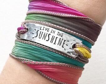 Live In The Sunshine, Sunshine Jewelry, Nature Jewelry, Sun Bracelet, Sunny Skies, Wrap Bracelet, Inspirational Jewelry
