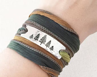 Forest Jewelry, Evergreen Jewelry, Nature Lover Gift, Pine Tree Jewelry, Woodland Gifts, Camping Lover Gift, Wrap Bracelet