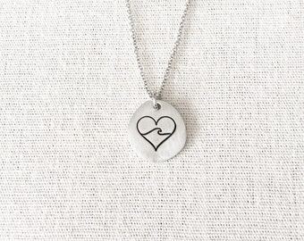 Heart Wave Necklace, Sea Jewelry, Surfer Gift, Surfer Jewelry, Surfer Necklace, Swimmer Gift, Wave Jewelry, Sea Lover Gift