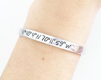 Custom Coordinate Bracelet Jewelry, Bridesmaid Gift Bracelet, Gift For Bride, Gift For Travelers, Latitude Longitude Bracelet,