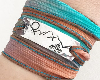 Desert Mountain Jewelry, Cactus Jewelry, Cactus Bracelet, Southwest Jewelry, Wrap Bracelet, Mountain Bracelet, Hiking Gift