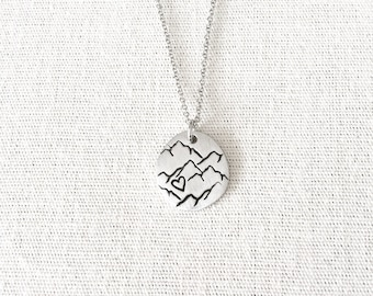Mountain Heart Necklace, Mountain Jewelry, Nature Jewelry, Nature Lover, Outdoor Gift, Wilderness Jewelry, Rockies Jewelry, Hiking Gift