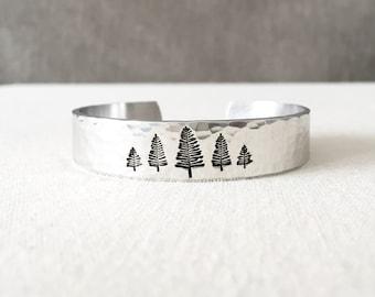Pine Tree Bracelet, Pine Tree Jewelry, Evergreen Jewelry, Nature Jewelry, Nature Bracelet, Nature Lover Gift, Forest Jewelry, Hiking Gift
