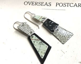 A World Apart Asymmetric Stacked Tin Earrings, Sterling Ear Wires, Vintage Tin, 10th Anniversary