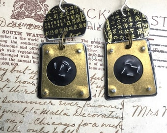 Big and Bold Black and Gold Geometric Earrings, Sterling Ear Wires, Vintage Tin, 10th Anniversary
