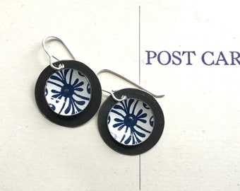 Navy and White Tin Disc Earrings, Sterling Ear Wires, Vintage Tin, 10th Anniversary