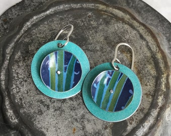 Aqua Tin Earrings, Sterling Ear Wires, Vintage Tin, 10th Anniversary