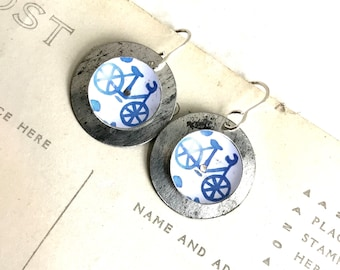 Bicycler's Tin Disc Earring, Sterling Ear Wires, 10th Anniversary