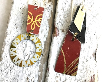 Red, Gold, and Black Asymmetric Stacked Tin Earrings, Sterling Ear Wires, Vintage Tin, 10th Anniversary