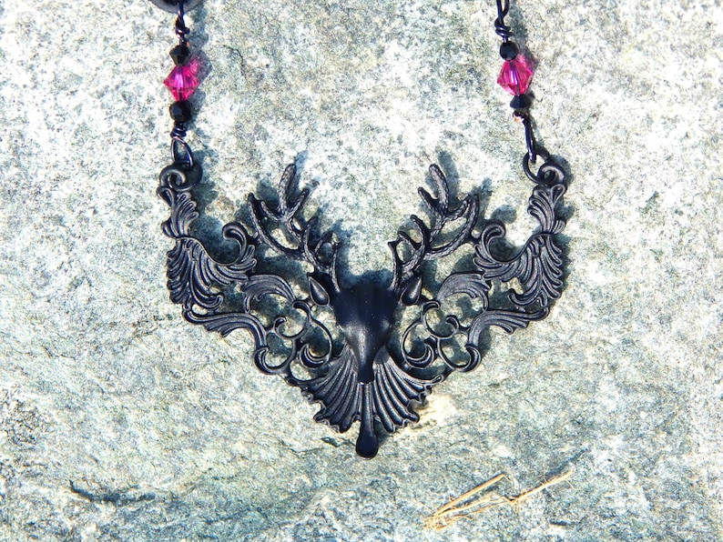 Fantasy Dear Head Necklace Deer Necklace Victorian Mourning Jewelry Gothic Necklace Black and Pink Crystal Necklace Leather Necklace