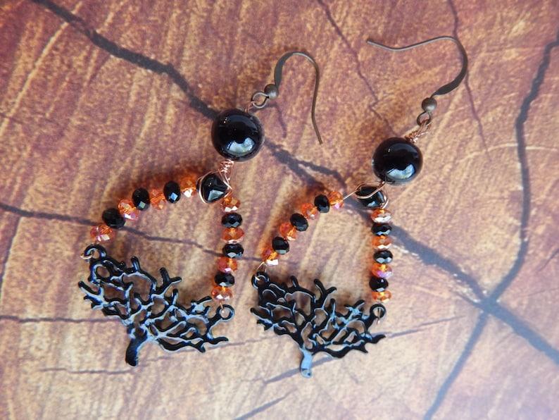 Spooky Earrings Wiccan Tree of Life Earrings Wiccan Jewelry Orange and Black Tree of Life Earrings Witch Tree Earrings