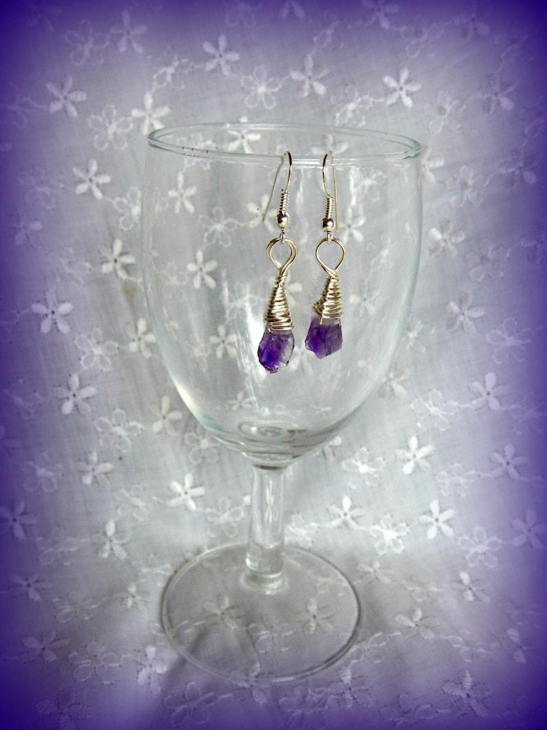Raw Amethyst Drop Earrings Raw Amethyst Stones February Birthstone Earrings Silver and Amethyst Earrings Small Raw Amethyst Earrings