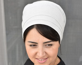 white lovely sparkling One wrap Mitpachat, wrap around,apron tichel,Jewish head covering, I have attached a Tutorial in the description