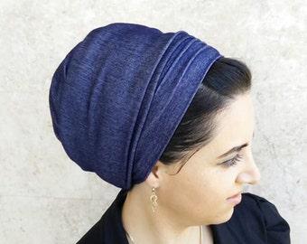 Blue Jeans stretch, head covering, Jewish Tichels, by oshratdesignz