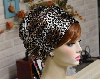 chic Leopard printhead scarf, velvet headscarf, Jewish head covering, mitpachat scarf