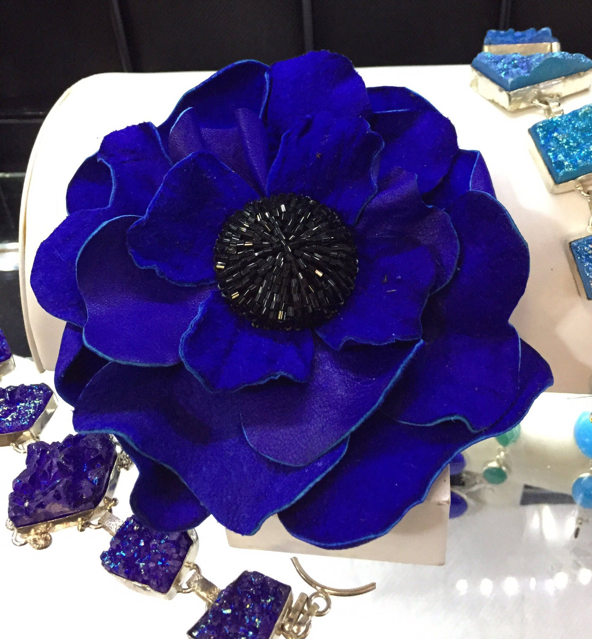 Leather Brooch Pin Large Royal Blue Flower Beaded Center Etsy
