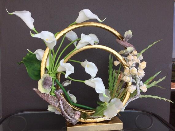 White Calla Lillies Contemporary Modern Silk Floral Etsy