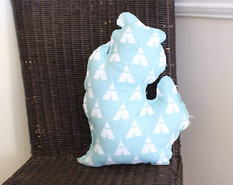 """Michigan """"Mitten"""" Pillow Turquoise Teepee or Tent"""