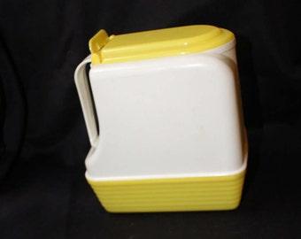 Vintage 1950's Lustro Ware Pitcher White Yellow