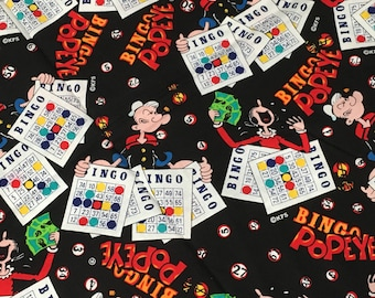BINGO LUCKY NUMBERS CARDS GAMES COTTON FABRIC BTHY