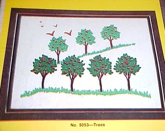 Vintage TREES Crewel Embroidery Kit  Minimalist Stitchery 70s WonderArt Fruit Tree Orchard Birds Boho Mod Arbor Day Environmentalist