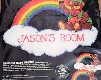 Vintage Plastic Canvas Needlepoint Kit Rainbow Teddy Plaque 80s Artist Bear Personalizable Kids Room Door Wall Hanging Bucilla Diy