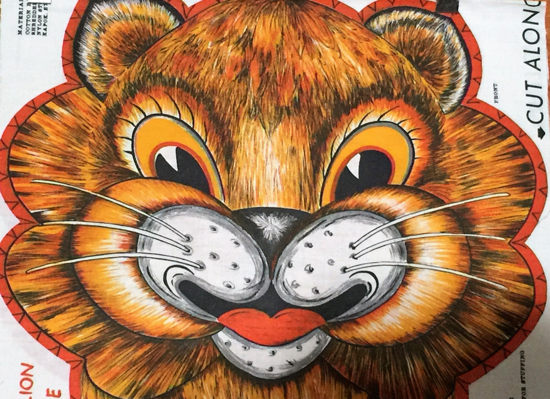 Vintage Lion Fabric Richard Stuffed Animal Toy Panel Jungle Etsy