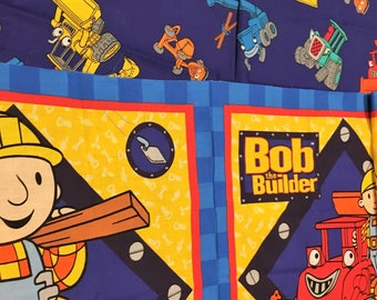 """Vintage Bob the Builder Muck Dump Truck Pillow Quilt Fabric Panel 2 Squares Approx 16"""" Construction Boy 2002 Also All Over Print"""