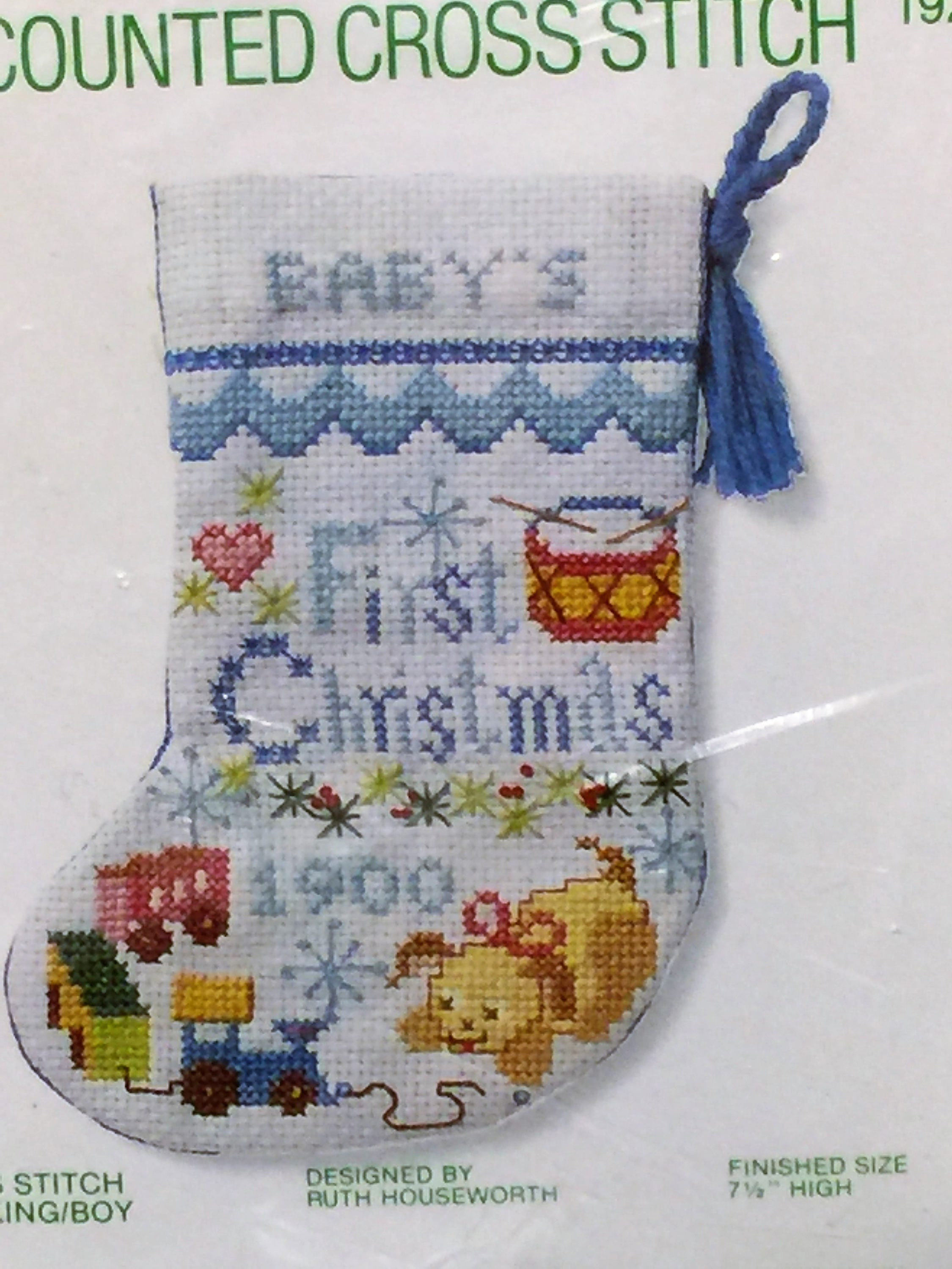 Vintage babys first christmas stocking kit boy blue cross stitch 8000 get shipping estimate solutioingenieria Images
