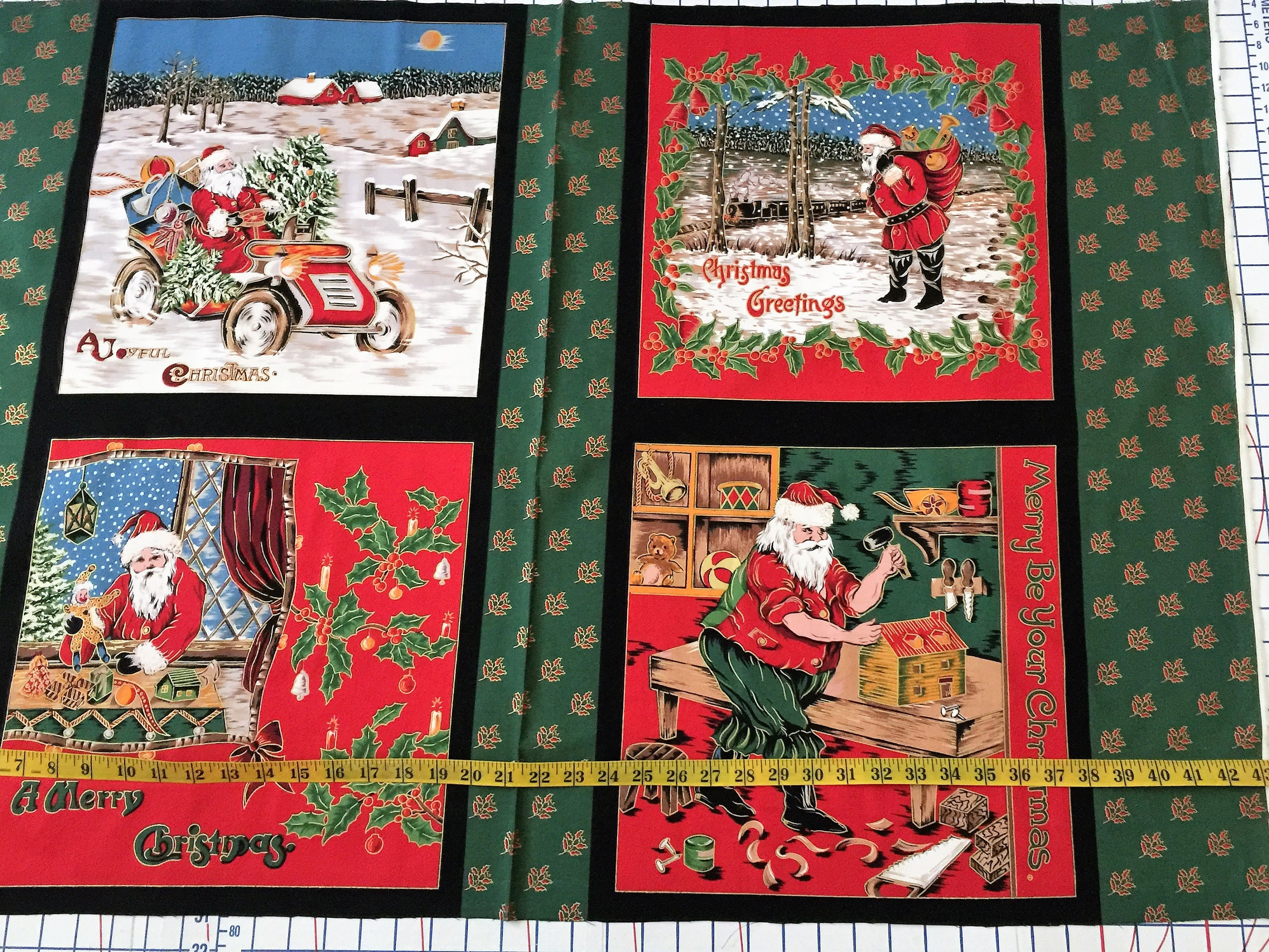 Old fashioned Santa Christmas Scenes Fabric Pillow Quilt | Etsy
