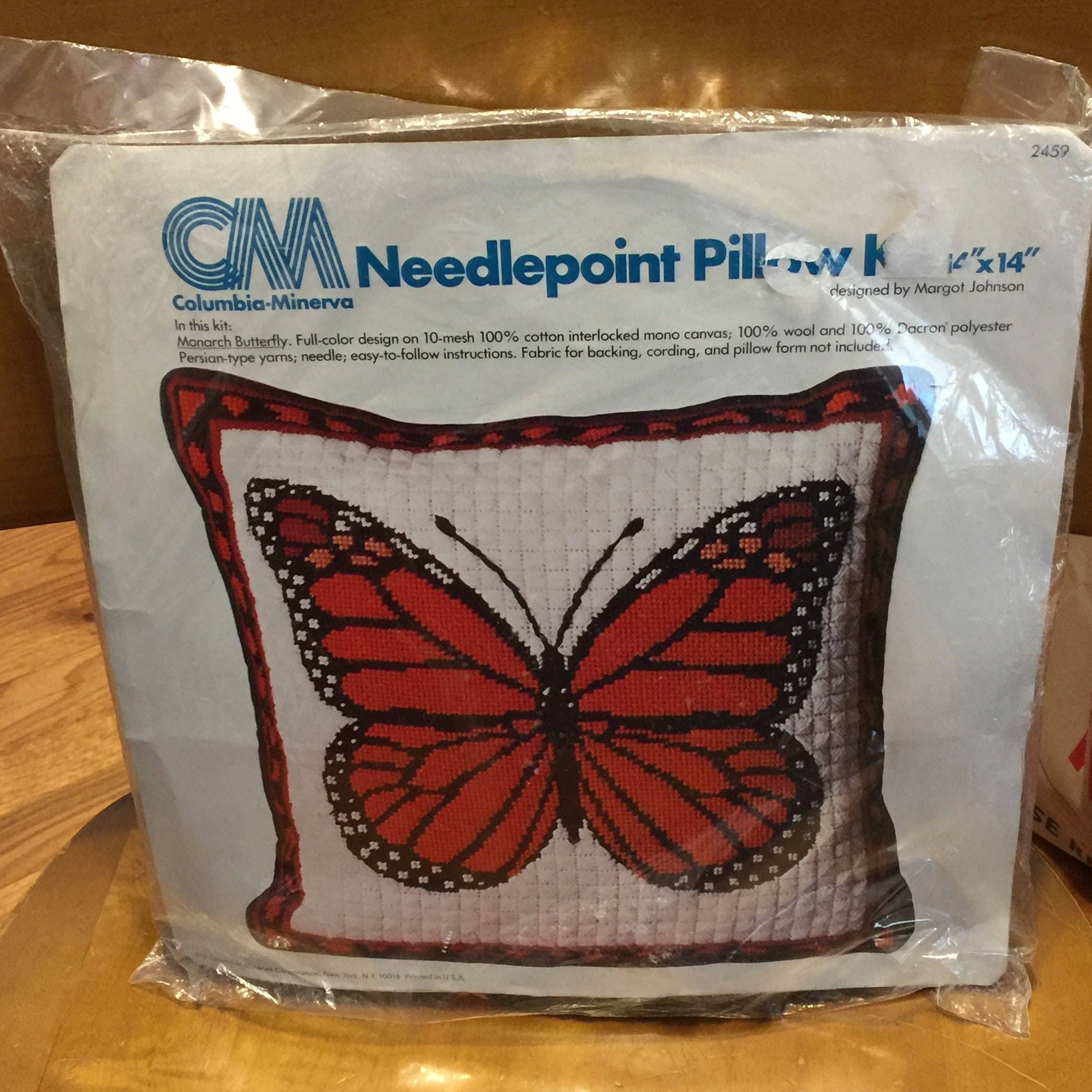 Vintage Needlepoint Pillow Kit Butterfly Monarch 70s Retro   Etsy