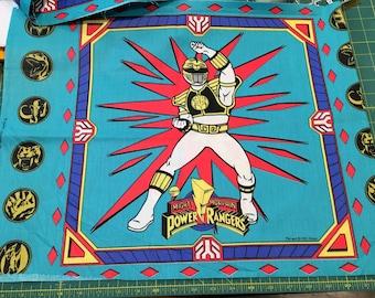 Vintage Power Rangers Fabric Quilt Pillow Panels Superheros Dino Force Crisp MMPR 1995 Saban Springs, Please READ slight issue per 2 squares
