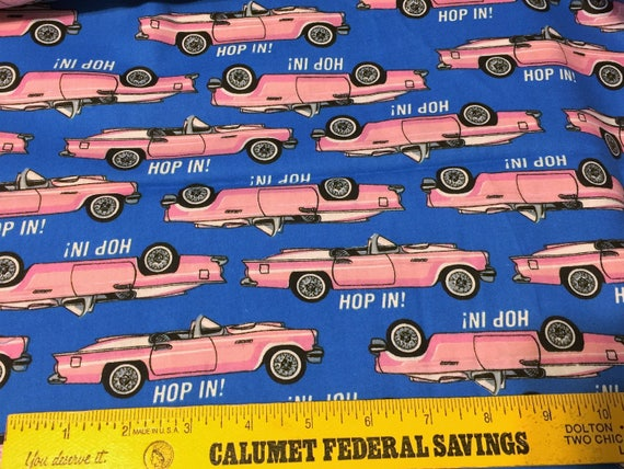 Vintage Pink Car Fabric 50s 60s T Bird Convertible Classic Car Etsy