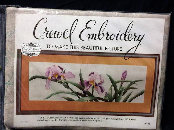 Vintage Elsa Williams Crewel Embroidery Kit Purple Iris Spring Etsy