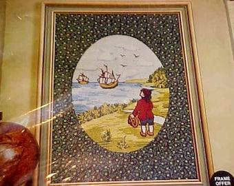 Vintage Tall Ships Scene Crewel Embroidery Kit  Paragon Calicos Seaside Folk Nautical Old-time Prim Calico Mat, Veres